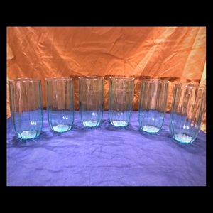 Other - Set of 6 Teal Tumblers Clear Wavy Drinking Glasses